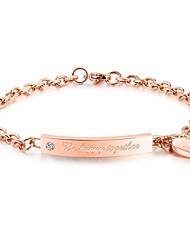 cheap -Women's Geometric ID Bracelet - Stainless Bracelet Rose Gold For Party / Daily