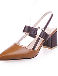 preiswerte -Damen Schuhe PU Herbst Pumps High Heels Block Ferse Spitze Zehe Blume für Kleid Schwarz Grün Khaki