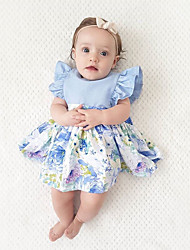 cheap -Toddler Girls' Boho Party / Holiday Solid Colored / Patchwork / Jacquard Ruffle / Lace up / Patchwork Sleeveless Dress / Cute