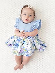 economico -Bambino (1-4 anni) Da ragazza Boho Feste / Per eventi Tinta unita / Collage / Jacquard Con balze / Lacci / Collage Senza maniche Vestito / Romantico