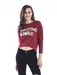 abordables -T-shirt simple d'automne de sports de printemps des femmes, lettre ronde de coton de manches longues de cou de lettre de polyester
