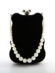 cheap -Women's Bags Suede Evening Bag Pearls for Wedding / Event / Party Black / Red / Brown