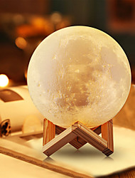 cheap -1set Moon 3D Nightlight Warm White White Yellow Other Battery Powered USB Dimmable Touch Sensor Decoration Creative <5V