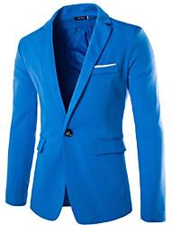 cheap -Men's Cotton Blazer - Solid Colored, Print / Long Sleeve