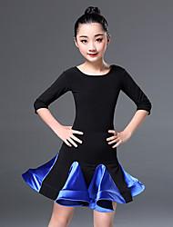 abordables -Danse latine Robes Entraînement Polyester Combinaison Demi Manches Taille haute Robe