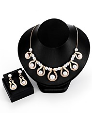 baratos -Mulheres Zircônia Cubica / Gema Imitação de Pérola / Zircão / Chapeado Dourado Caído Conjunto de jóias 1 Colar / Brincos - Formal /