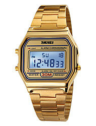 cheap -SKMEI Men's Sport Watch / Digital Watch Alarm / Calendar / date / day / Chronograph Stainless Steel Band Elegant Gold / Water Resistant / Water Proof / LCD
