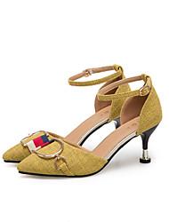 Недорогие -Жен. Обувь Ткань / Полиуретан Весна / Лето Удобная обувь / С ремешком на лодыжке Обувь на каблуках Для прогулок На шпильке Заостренный