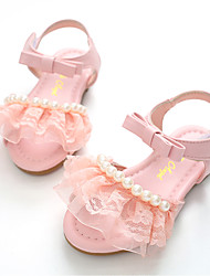 cheap -Girls' Shoes Leatherette Summer Flower Girl Shoes Sandals Imitation Pearl / Magic Tape for White / Pink