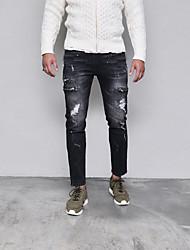Недорогие -мужские нормальные среднего роста микро-эластичные джинсы брюки chinos, панк&готическая полька точка поли все сезоны