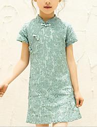 abordables -Robe Fille de Quotidien Sortie Couleur Pleine Rayonne Polyester Eté Manches Courtes Chinoiserie Vert Rouge Rose Claire