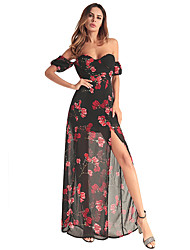cheap -Women's Chiffon Dress - Floral, Mesh Split Print Maxi Off Shoulder