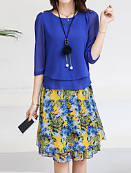 cheap -Women's Going out Street chic Blouse - Floral, Print Skirt / Spring / Summer / Floral Patterns