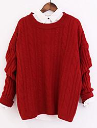 Недорогие -Жен. Очаровательный Пуловер - Однотонный