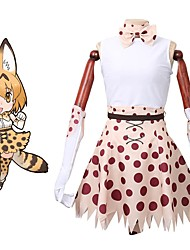 baratos -Inspirado por Kemono Amigos Fantasias Anime Fantasias de Cosplay Ternos de Cosplay Tops Cosplay / Bottoms Outro Sem Manga Saia Luvas