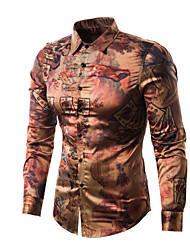 cheap -Men's Club Vintage Silk Cotton Slim Shirt - Color Block Portrait, Print