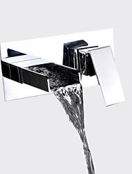 abordables -Moderno Modern Colocado en la Pared Cascada Válvula Cerámica 2 Orificios Sola manija Dos Agujeros Cromo, Baño grifo del fregadero