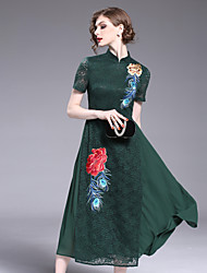 cheap -8CFAMILY Women's Vintage Chinoiserie Sheath Dress - Floral, Lace Embroidered