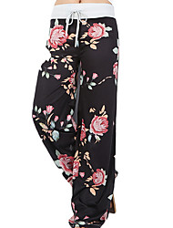 cheap -Women's Boho Plus Size Cotton Wide Leg Pants - Floral Print