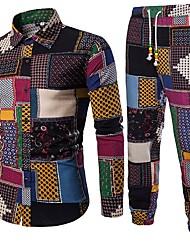 cheap -Men's Boho / Chinoiserie Plus Size Cotton / Linen Shirt - Geometric / Color Block Print Classic Collar / Long Sleeve