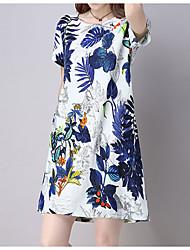 preiswerte -Damen Grundlegend Baumwolle / Polyester Schlank Hülle Kleid Solide Übers Knie