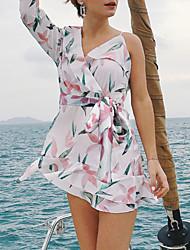 preiswerte -Damen Schlank Hülle Chiffon Kleid - Schößchen Rückenfrei, Blumen Mini V-Ausschnitt Hohe Taillenlinie
