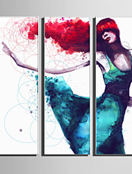Недорогие -Холст в раме Набор в раме - Абстракция Люди Пластик Иллюстрации Предметы искусства
