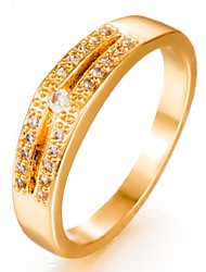 cheap -Women's Cubic Zirconia Gold Plated Band Ring - Geometric Fashion Gold Ring For Wedding / Gift