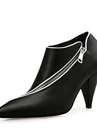 baratos -Mulheres Sapatos Micofibra Sintética PU Outono Inverno Botas da Moda Botas Salto Cone Dedo Apontado Botas Curtas / Ankle para Escritório