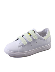 baratos -Mulheres Sapatos Couro Ecológico Primavera Conforto Tênis Sem Salto Ponta Redonda para Dourado Branco Preto Arco-íris