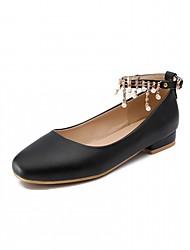 abordables -Femme Chaussures Similicuir Printemps / Automne Confort / Nouveauté Ballerines Talon Plat Bout rond Imitation Perle Blanc / Noir / Rose