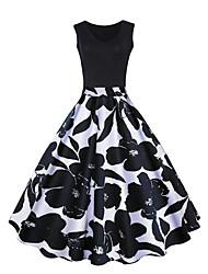 baratos -Mulheres Casual Simples balanço Acima do Joelho Vestido Estampa Colorida Decote Redondo Sem Manga Primavera Verão