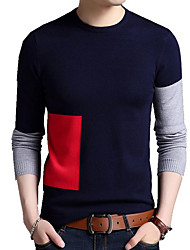 cheap -Men's Long Sleeves Loose Pullover - Color Block Round Neck