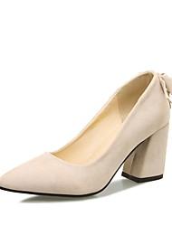 preiswerte -Damen Schuhe Kunstleder Frühling Sommer Pumps High Heels Blockabsatz Spitze Zehe Schleife für Hochzeit Schwarz Beige Rosa