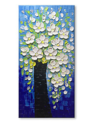 cheap -STYLEDECOR White Flowers in The Blue Background Modern Hand Painted Knife Oil Painting on Canvas for Home
