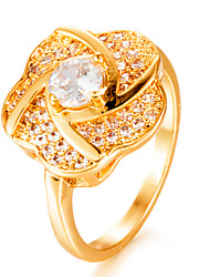 cheap -Women's Cubic Zirconia Gold Plated Band Ring - Geometric Fashion Gift Gold Ring For Wedding Gift