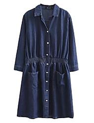 abordables -Femme Toile de jean Robe - Basique, Couleur unie Col de Chemise