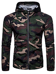 cheap -Men's Sports Voiles & Sheers Military Jacket-Camouflage Hooded