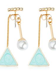abordables -Femme Mignon Balle Turquoise / Strass / Perle imitée Cristal / Imitation de perle Boucles d'oreille goutte - Mode Bleu clair Forme