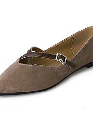 女性用 靴 PUレザー 春 秋 コンフォートシューズ フラット フラットヒール のために アウトドア ブラック ベージュ カーキ色