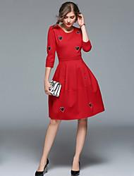 baratos -Mulheres Vintage Moda de Rua Evasê Vestido - Bordado, Sólido Altura dos Joelhos
