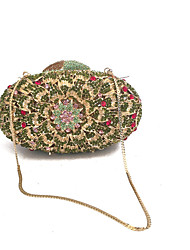 cheap -Women's Bags PU Metal Evening Bag Embroidery for Event/Party All Seasons Green Brown