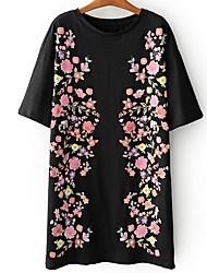abordables -Femme Manche Papillon Coton Tee Shirt Robe - Imprimé, Géométrique Au dessus du genou