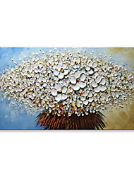 cheap -STYLEDECOR Modern Hand Painted Abstract White Palette Knife Flowers Oil Painting on Canvas for Living Room