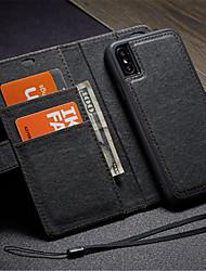 Недорогие -Кейс для Назначение Apple iPhone X Кошелек / Бумажник для карт / со стендом Чехол Сплошной цвет Твердый Кожа PU для iPhone X / Своими руками