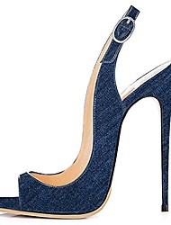 cheap -Women's Shoes Denim Spring Summer Slingback Sandals Stiletto Heel Peep Toe for Wedding Party & Evening Dark Blue Navy Blue