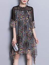 baratos -Mulheres Para Noite Temática Asiática Seda Solto Solto Vestido - Estampado, Floral Assimétrico