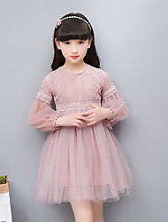 cheap -Girl's Party Daily Solid Jacquard Dress, Cotton Acrylic Polyester Spring Summer Long Sleeves Simple Vintage White Blushing Pink