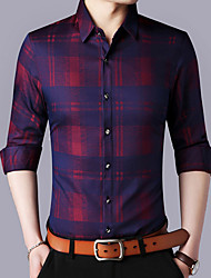 cheap -Men's Work Shirt - Plaid Print Classic Collar