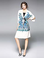 abordables -Femme Grandes Tailles Bohème Gaine Robe - Imprimé, Fleur Col Rond Claudine Maxi